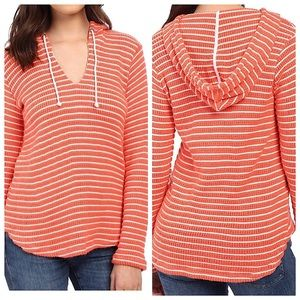 Splendid V-Neck Striped Hooded Pullover Sz S
